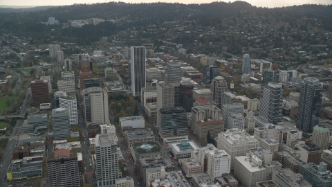 AX155_103.0000312F - Aerial stock photo of The Downtown Portland cityscape in Oregon