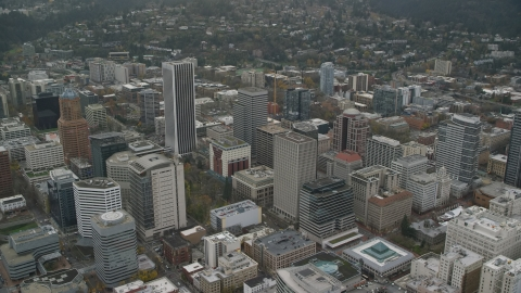 AX155_104.0000205F - Aerial stock photo of Skyscrapers in Downtown Portland, Oregon