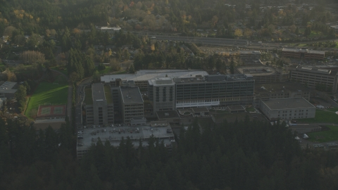 AX155_122.0000000F - Aerial stock photo of Providence St Vincent Medical Center in Southwest Portland, Oregon
