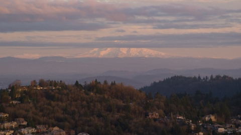 AX155_136.0000000F - Aerial stock photo of Mount Hood seen from hillside homes in Northwest Portland, Oregon