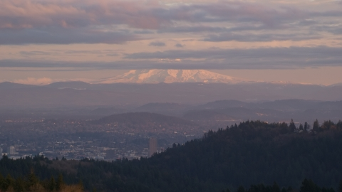 AX155_137.0000233F - Aerial stock photo of Mount Hood seen from hills in Northwest Portland, Oregon