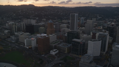 AX155_179.0000263F - Aerial stock photo of Downtown Portland at sunset in Oregon