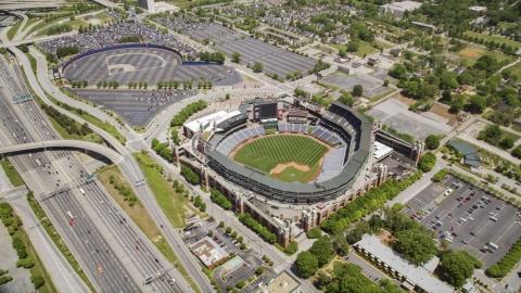 AX36_001.0000112F - Aerial stock photo of Turner Field and surrounding community and highways, Atlanta, Georgia