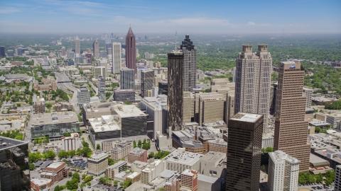 AX36_005.0000227F - Aerial stock photo of Downtown Atlanta skyscrapers and office buildings, Atlanta, Georgia