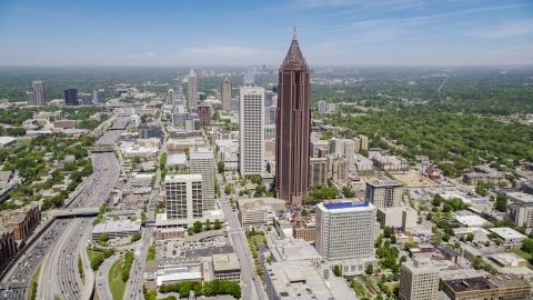 AX36_008.0000053F - Aerial stock photo of Bank of America Plaza, Midtown Atlanta, Georgia