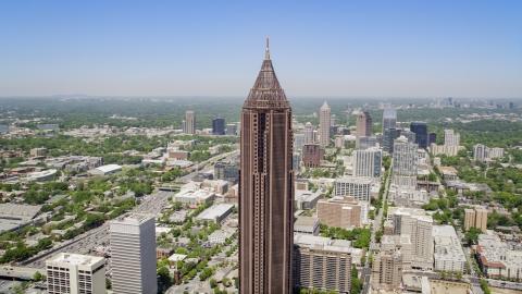 AX36_009.0000007F - Aerial stock photo of Bank of America Plaza, Midtown Atlanta