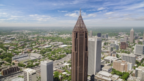 AX36_009.0000101F - Aerial stock photo of Bank of America Plaza, office buildings, Midtown Atlanta, Georgia