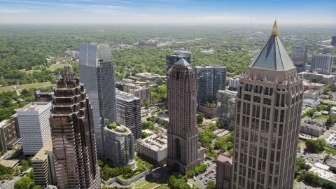 AX36_013.0000463F - Aerial stock photo of Skyscrapers, Midtown Atlanta, Georgia
