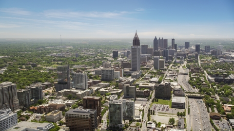 AX36_017.0000231F - Aerial stock photo of Midtown and Downtown skyscrapers, Atlanta, Georgia