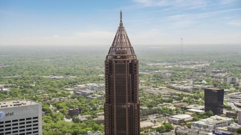 AX36_020.0000144F - Aerial stock photo of Top of Bank of America Plaza, Midtown Atlanta, Georgia