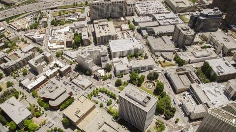 AX36_025.0000074F - Aerial stock photo of Office buildings around Hurt Park in Downtown Atlanta, Georgia