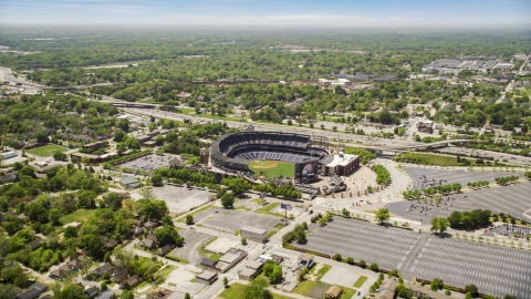 AX36_028.0000028F - Aerial stock photo of The Turner Field baseball stadium in Atlanta, Georgia,