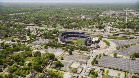 AX36_028.0000110F - Aerial stock photo of Turner Field and the surrounding community, Atlanta, Georgia