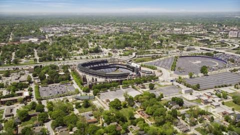 AX36_029.0000237F - Aerial stock photo of Turner Field, a Major League Baseball Stadium, in Atlanta, Georgia