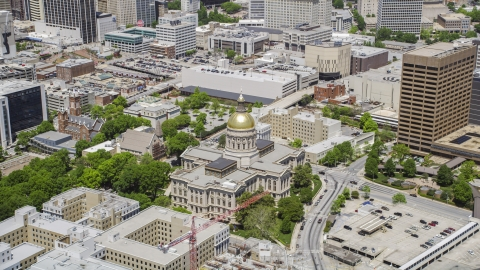 AX36_036.0000106F - Aerial stock photo of The Georgia State Capitol building in Downtown Atlanta, Georgia