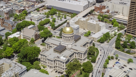 AX36_036.0000232F - Aerial stock photo of The Georgia State Capitol with golden dome in Downtown Atlanta, Georgia