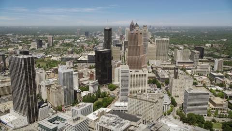 AX36_037.0000148F - Aerial stock photo of Georgia-Pacific Tower, Equitable Plaza, Downtown Atlanta, Georgia