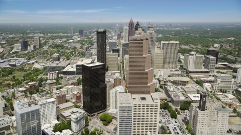 AX36_038.0000044F - Aerial stock photo of Downtown skyscrapers on a sunny day,  Atlanta, Georgia
