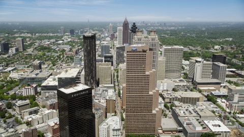 AX36_038.0000188F - Aerial stock photo of Skyscrapers in Downtown Atlanta, Georgia