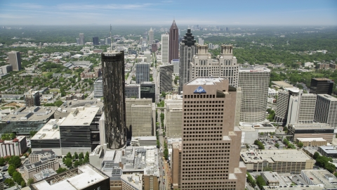 AX36_038.0000305F - Aerial stock photo of Georgia-Pacific Tower, Westin Peachtree Plaza Hotel, Downtown skyscrapers, Atlanta, Georgia