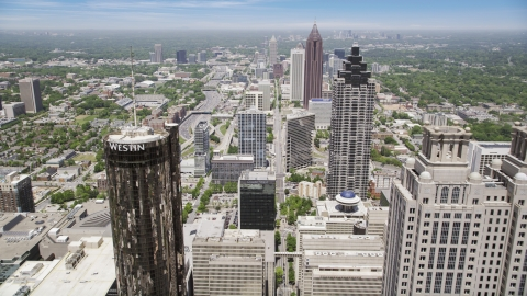 AX36_039.0000145F - Aerial stock photo of Skyscrapers and office buildings, Downtown Atlanta, Georgia