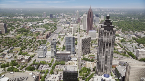 AX36_039.0000272F - Aerial stock photo of Skyscrapers and office buildings, Downtown Atlanta, Georgia