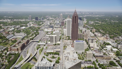 AX36_040.0000257F - Aerial stock photo of SunTrust Plaza, Bank of America Plaza,  office buildings, Midtown Atlanta, Georgia