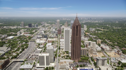 AX36_041.0000071F - Aerial stock photo of Bank of America Plaza and AT&T Building, Midtown Atlanta, Georgia