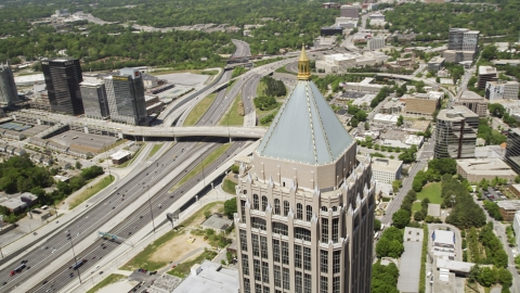 AX36_044.0000066F - Aerial stock photo of Close-up of One Atlantic Center near Downtown Connector, Atlanta, Georgia