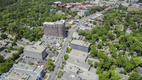 AX36_047.0000049F - Aerial stock photo of Peachtree Road near Piedmont Hospital, Buckhead, Georgia