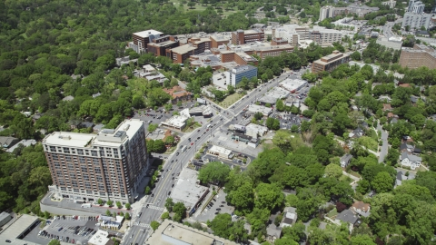 AX36_047.0000173F - Aerial stock photo of Peachtree Road near Piedmont Hospital, Buckhead, Georgia