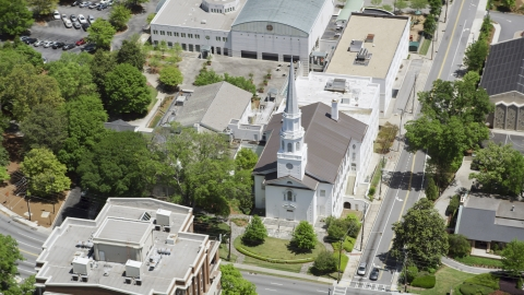 AX36_053.0000055F - Aerial stock photo of Church on corner on Peachtree Road and East Wesley,  Buckhead, Georgia