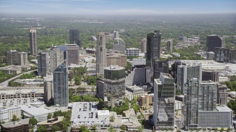 AX36_057.0000056F - Aerial stock photo of Buckhead skyscrapers and office buildings, Atlanta, Georgia