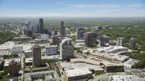 AX36_063.0000264F - Aerial stock photo of Skyscrapers and office buildings, Buckhead, Georgia