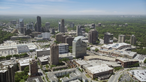AX36_064.0000049F - Aerial stock photo of Office buildings and skyscrapers, Buckhead, Georgia