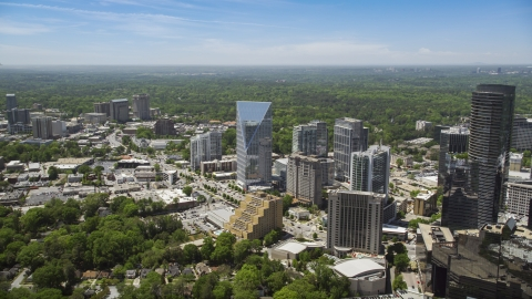 AX36_066.0000090F - Aerial stock photo of Terminus Atlanta, high-rises and office buildings, Buckhead, Georgia