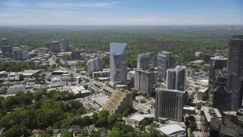AX36_066.0000132F - Aerial stock photo of Terminus Atlanta, office buildings and high-rises, Buckhead, Georgia