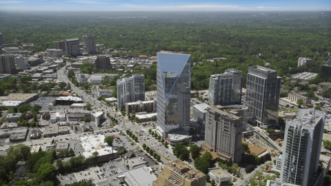 AX36_066.0000311F - Aerial stock photo of Terminus Atlanta, high-rises and office buildings, Buckhead, Georgia