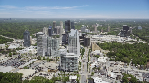 AX36_068.0000093F - Aerial stock photo of Terminus Atlanta and skyscrapers, Buckhead, Georgia