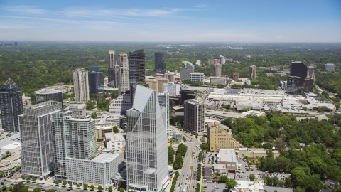 AX36_068.0000325F - Aerial stock photo of Terminus Atlanta and skyscrapers along Peachtree Road, Buckhead, Georgia