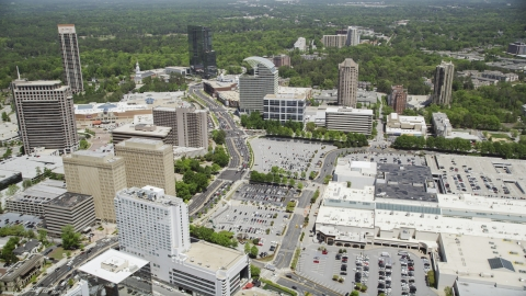 AX36_070.0000089F - Aerial stock photo of Peachtree Road near The Pinnacle, Buckhead, Georgia
