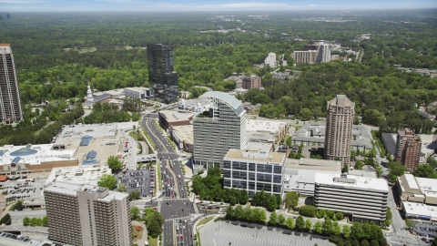 AX36_070.0000326F - Aerial stock photo of Peachtree Road near The Pinnacle, Buckhead, Georgia