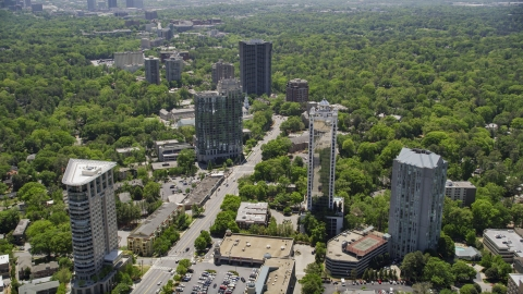 AX36_079.0000101F - Aerial stock photo of 2828 Peachtree, wooded area, Buckhead, Georgia