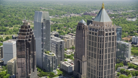 AX36_088.0000269F - Aerial stock photo of One Atlantic Center and Midtown Atlanta skyscrapers, Georgia
