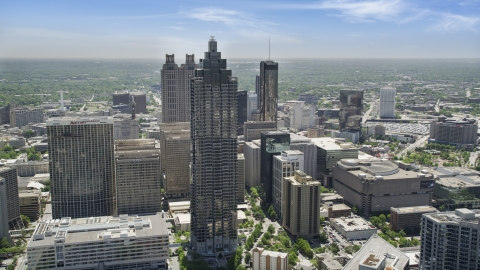 AX36_093.0000075F - Aerial stock photo of SunTrust Plaza, Downtown Atlanta, Georgia