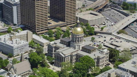 AX36_097.0000163F - Aerial stock photo of Georgia State Capitol, Downtown Atlanta, Georgia