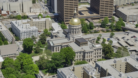 AX36_097.0000313F - Aerial stock photo of Georgia State Capitol, Downtown Atlanta, Georgia