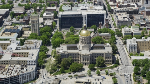 AX36_099.0000264F - Aerial stock photo of The Georgia State Capitol, Downtown Atlanta