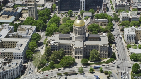 AX36_101.0000327F - Aerial stock photo of Georgia State Capitol, city streets, Atlanta, Georgia