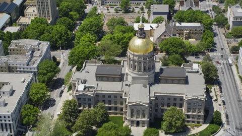 AX36_101.0000410F - Aerial stock photo of Georgia State Capitol, Atlanta, Georgia